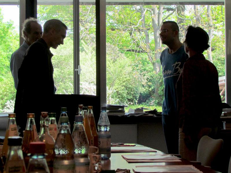 Michael Krüger, Jörg Plath, Marko Martin und Leila Chammaa vor der ILP-Jurysitzung zur Ermittlung der Shortlist 2016