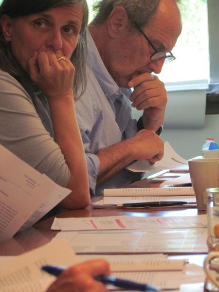 Iris Radisch und Michael Krüger während der ILP-Jurysitzung zur Ermittlung der Shortlist 2016