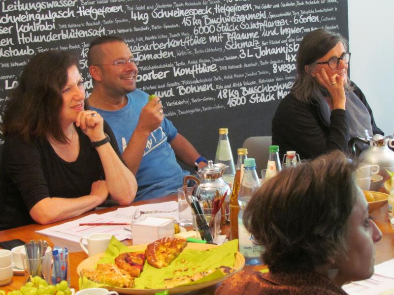 Sabine Peschel, Marko Martin, Iris Radisch und Leila Chammaa während der ILP-Jurysitzung zur Ermittlung der Shortlist 2016
