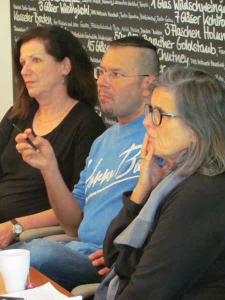 Sabine Peschel, Marko Martin und Iris Radisch während der ILP-Jurysitzung zur Ermittlung der Shortlist 2016
